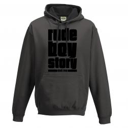 """Sweat """"Rude Boy Story"""" Gris avec capuche noire"""
