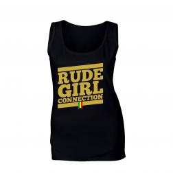 "Tank top women_""Rude Girl Connection"" Black & Yellow"