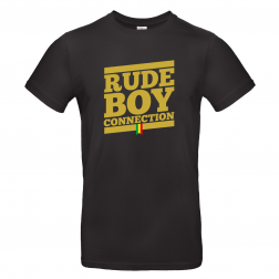"T-shirt Men_""Rude Boy Connection"" Black & Yellow"