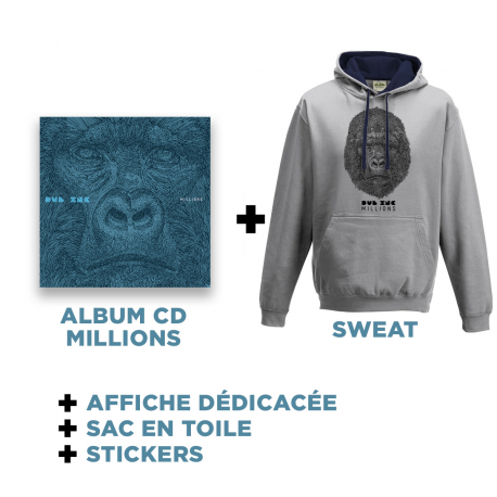 Cd Millions + Grey-Blue Hoodies + Goodies