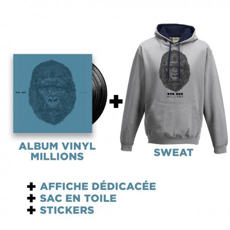 Double Vinyl Millions +Sweat Gris-Bleu + Goodies