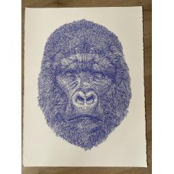 Gorilla /  Blue Silkscreen printing_Limited edition 100 copies